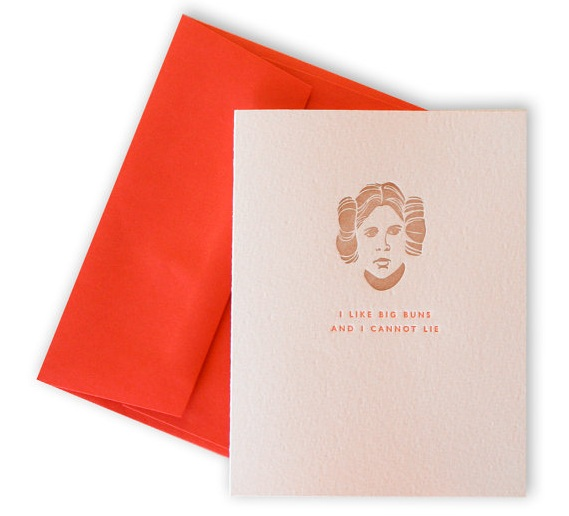 Princess Leia Star Wars nerdy Valentine's Day Card