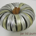 upcycled jar lid pumpkin